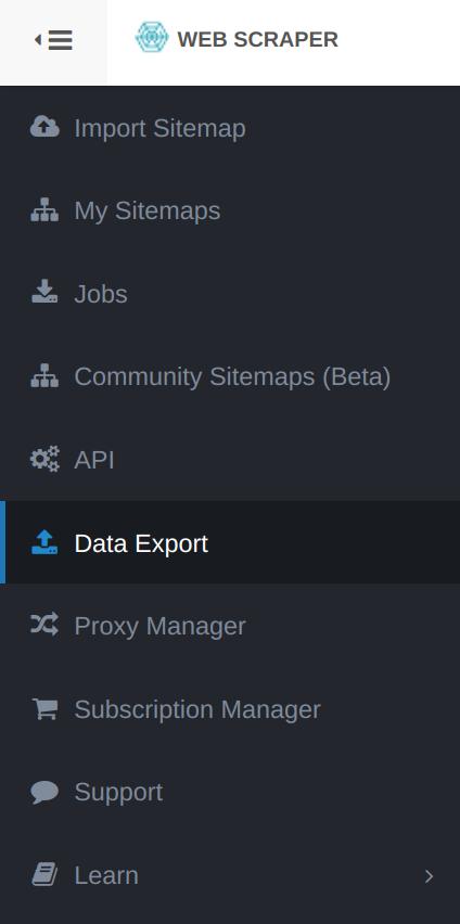 Toolbar-Right-Data-Export- Google-Append-Web-Scraper-Cloud-Feature